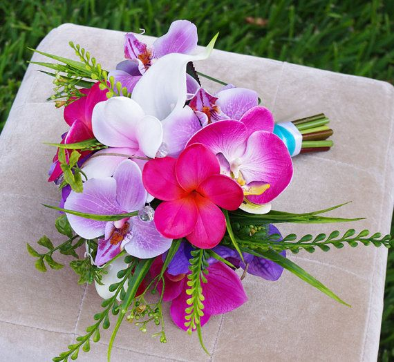 Wedding Silk Plumeria Bouquet - Fuchsia and Lilac Natural Touch Orchids and Plumerias Silk Bridal Bouquet