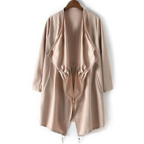Drawstring Relaxed Trench Coat ($23) ❤ liked on Polyvore featuring outerwear, coats, drawstring trench coat, trench coat, drawstring coat, brown trench coat and brown coat