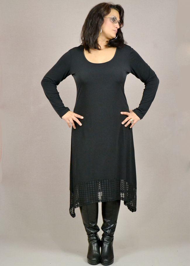φόρεμα ασύμμετρο από ελαστικό ύφασμα με λεπτομέρειες δανδέλας
