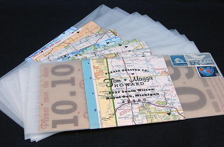 Print Map For Wedding Invitations: Vintage Map Wedding Invites