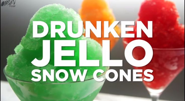 Recipe:  1 Cup boiling water 2 cups Sprite 1 cup Vanilla vodka 3 oz jello mix Mix and freeze overnight  http://www.obsev.com/food/drunken-jello-snow-cones