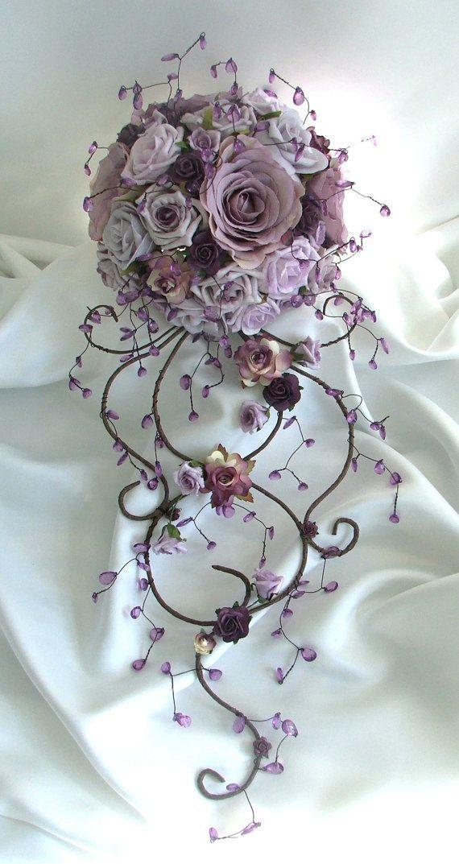 Artificial Rose & Crystal Bouquet - Venice (purple/lilac). $147.25, via Etsy.