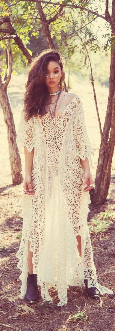Gorgeous Crochet Lace Maxi Caftan- great for over a swim suit