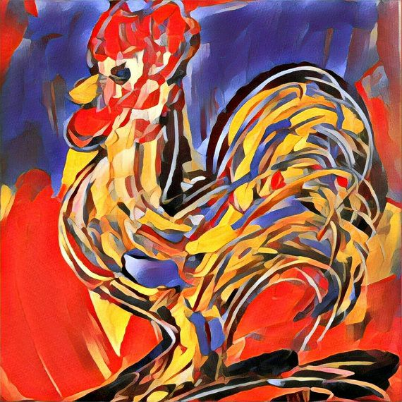 Impressionist Modern Abstract ROOSTER Portrait Animal by kazavart