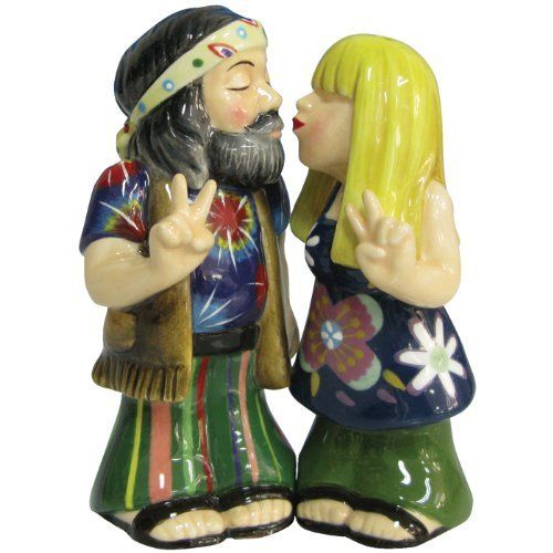 Westland Giftware Mwah Magnetic Hippie Couple Salt and Pepper Shaker Set.  Too cute!