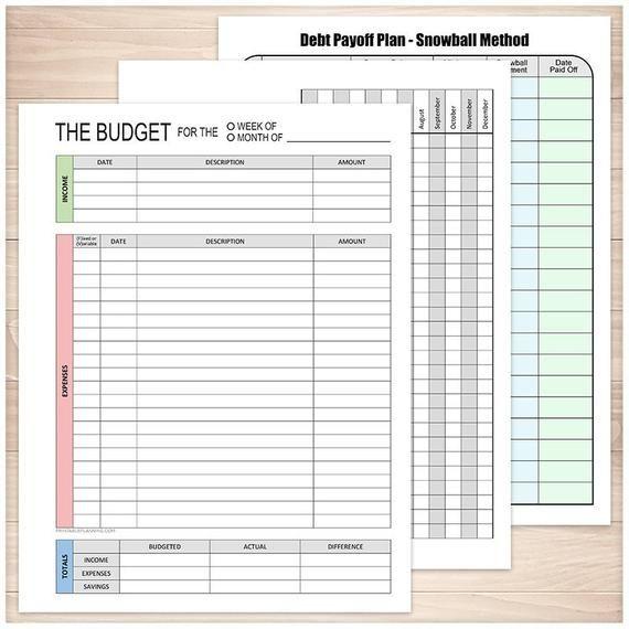 Printable Financial BUNDLE - Budget Worksheet, Bill Payment ...