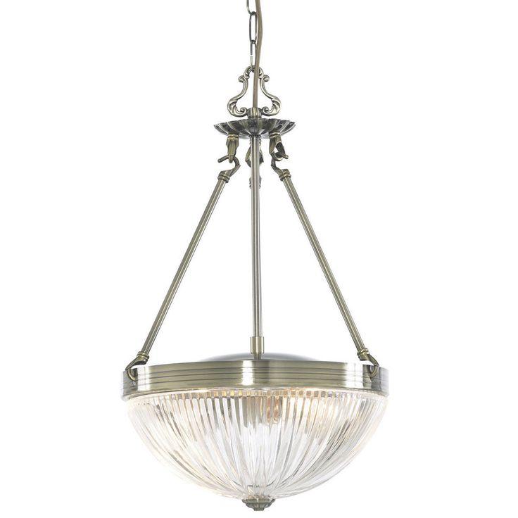 Searchlight 4772 2AB Windsor II 2 Light Ceiling Pendant Antique Brass Glass