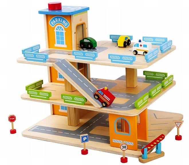 Wooden Toy Garage Car, Parking Garage Toys