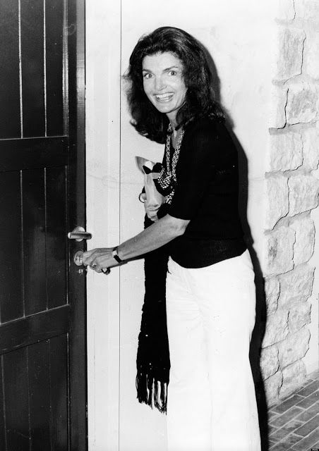 "August 4, 1975 Athens, Greece Jackie Onassis and Mrs. Hubert Humphrey attended a performance of ""Oedipus in Colonus"" at the Summer Festival of Epidaurus"