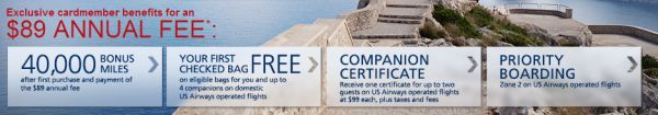 US Airways MasterCard: 40,000 Miles with NO Spending Requirement