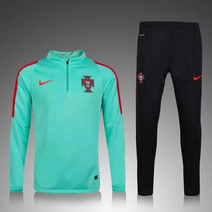 Portugal Euro 2016/17 Men Green Tracksuit Slim Fit