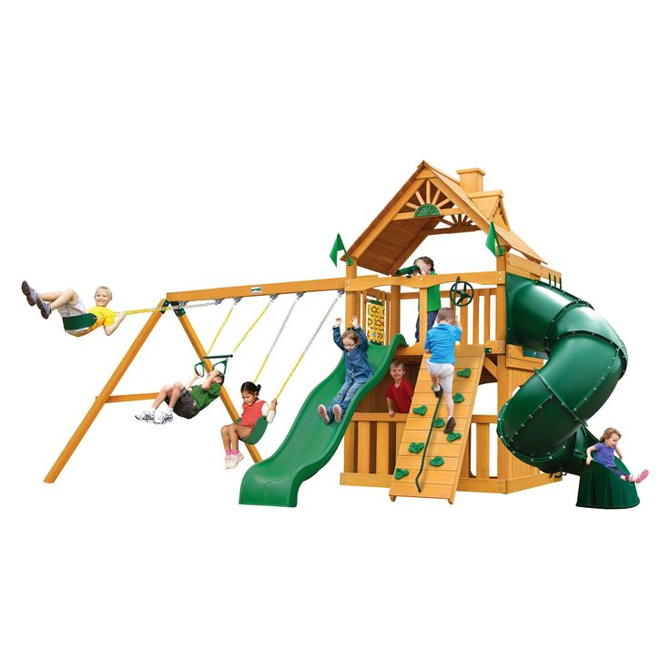 Gorilla Playsets Mountaineer Clubhouse Swing Set with Amber Posts,