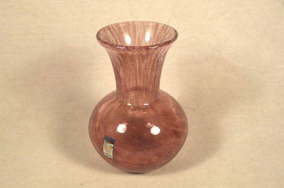 """6"""" h Karcag Veil Crackle Crackled Blown Art Glass Vase"""