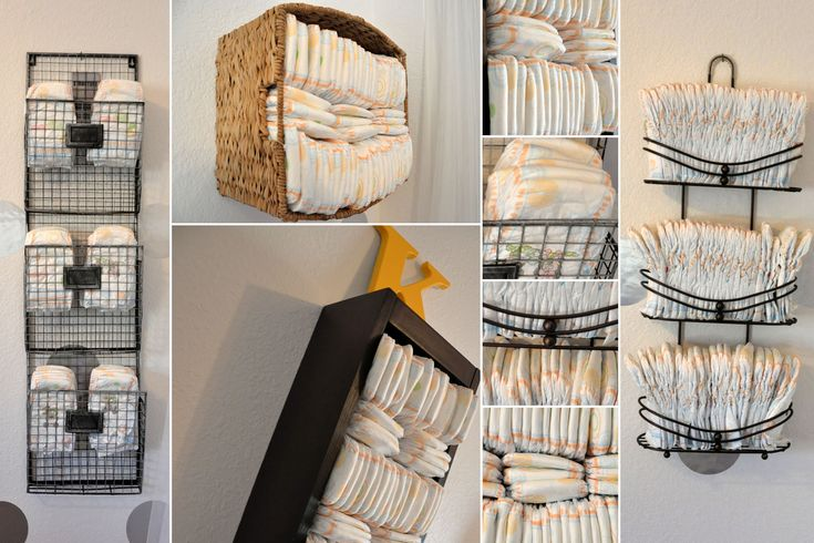 Diaper Storage Ideas. Yay I have a shower caddy I can't use on our shower head so I will be doing that idea =)