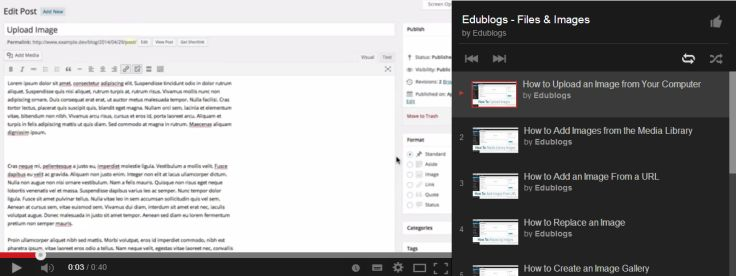 Our Edublogs - Files & Images (playlist) of video tutorials to help you understand everything you need to know about managing files and images on Edublogs, CampusPress and any WordPress powered blog.