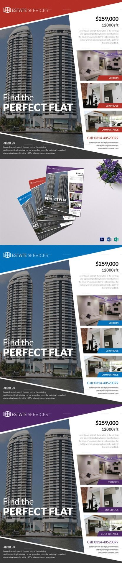 Real Estate Flyer Template - Formats Included : MS Word, Photoshop, Publisher  - File Size : 8.5x11 Inchs