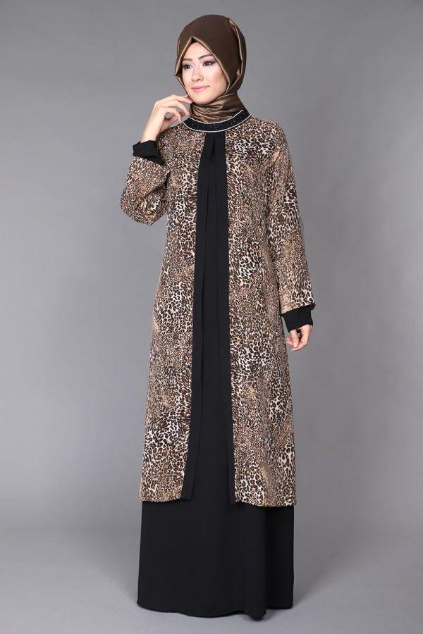 Leopar Şifon Yelek Görünümlü Elbise TUA3392 Kahve&Siyah
