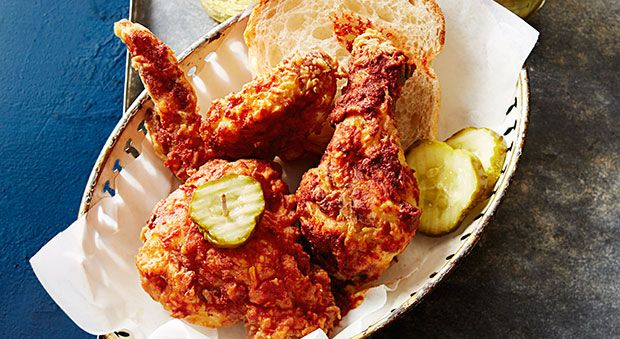 Carla Hall urged us to sample Nashville's famous dish: Hot Chicken — fried chicken brushed with a spicy paste. We tried it at Hattie B's, Bolton's, and Prince's Chicken, then honed our own recipe to help you create it at home.