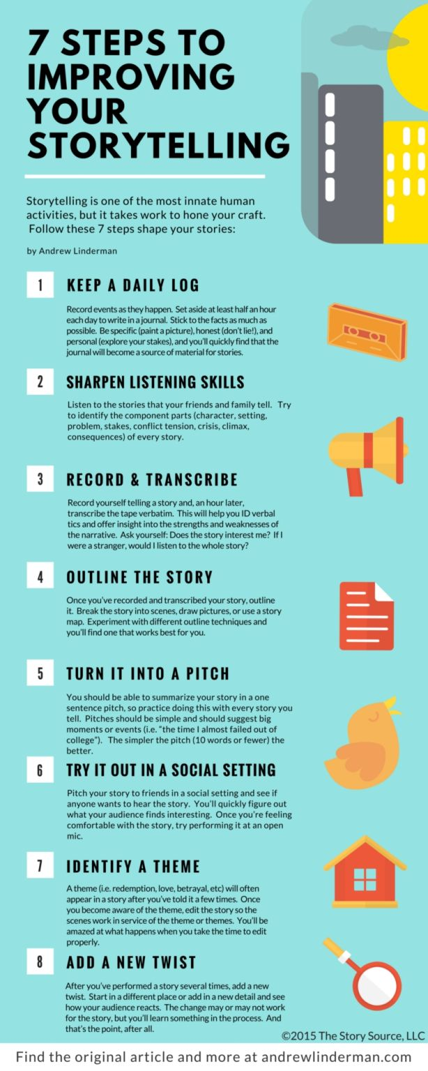 Good to Great : 7 Steps to Improving Your Storytelling | ANDREW LINDERMAN in 2020 | Storytelling, Business storytelling, Creative writing