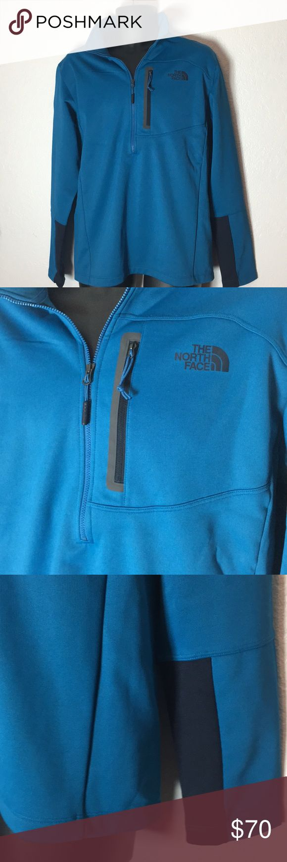 🆕NWT Men's North Face Pullover This pullover is a medium blue color. It's a 1/4 Zip and has a zippered front pocket. It is fleece lined so very warm. NWT, size L. Save on ✈️SHIPPING✈️and 🎁BUNDLE! I even give a discount on 3 or more regularly priced item bundles. I always accept reasonable offers with the offer button! 🚫❌Lowball offers please! The North Face Jackets & Coats