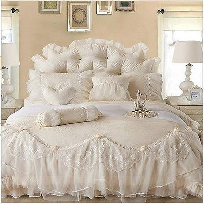 Luxury Jacquard Silk Princes Beige Duvet Cover Bedding Set King Queen Twin Size
