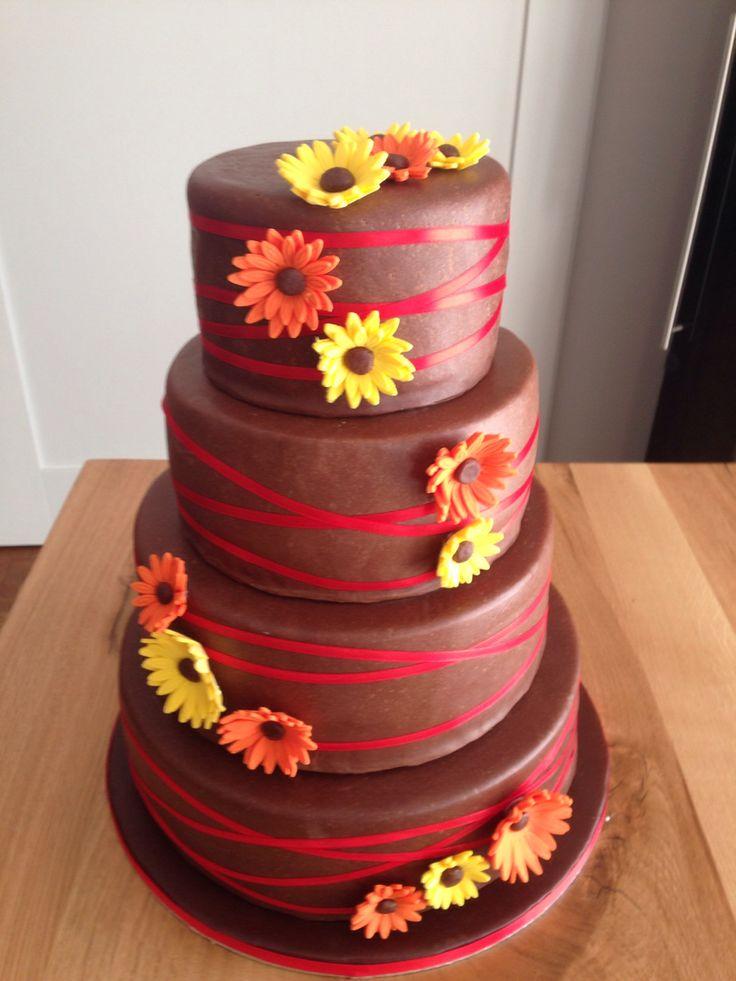 Gerbera Hochzeitstorte gelb orange rot