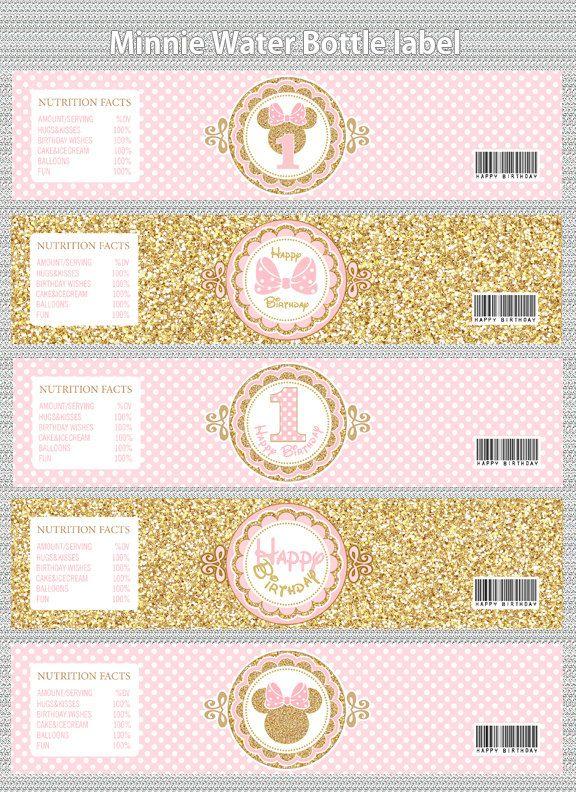 Invitar a rosa y botella de agua de ratón de Minnie oro etiquetas, decoraciones para fiestas Minnie oro brillo, lunares, niña, invitación para imprimir