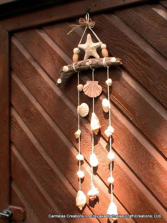 Starfish topped Shell Mobile on driftwood by CarmelasCoastalCraft,