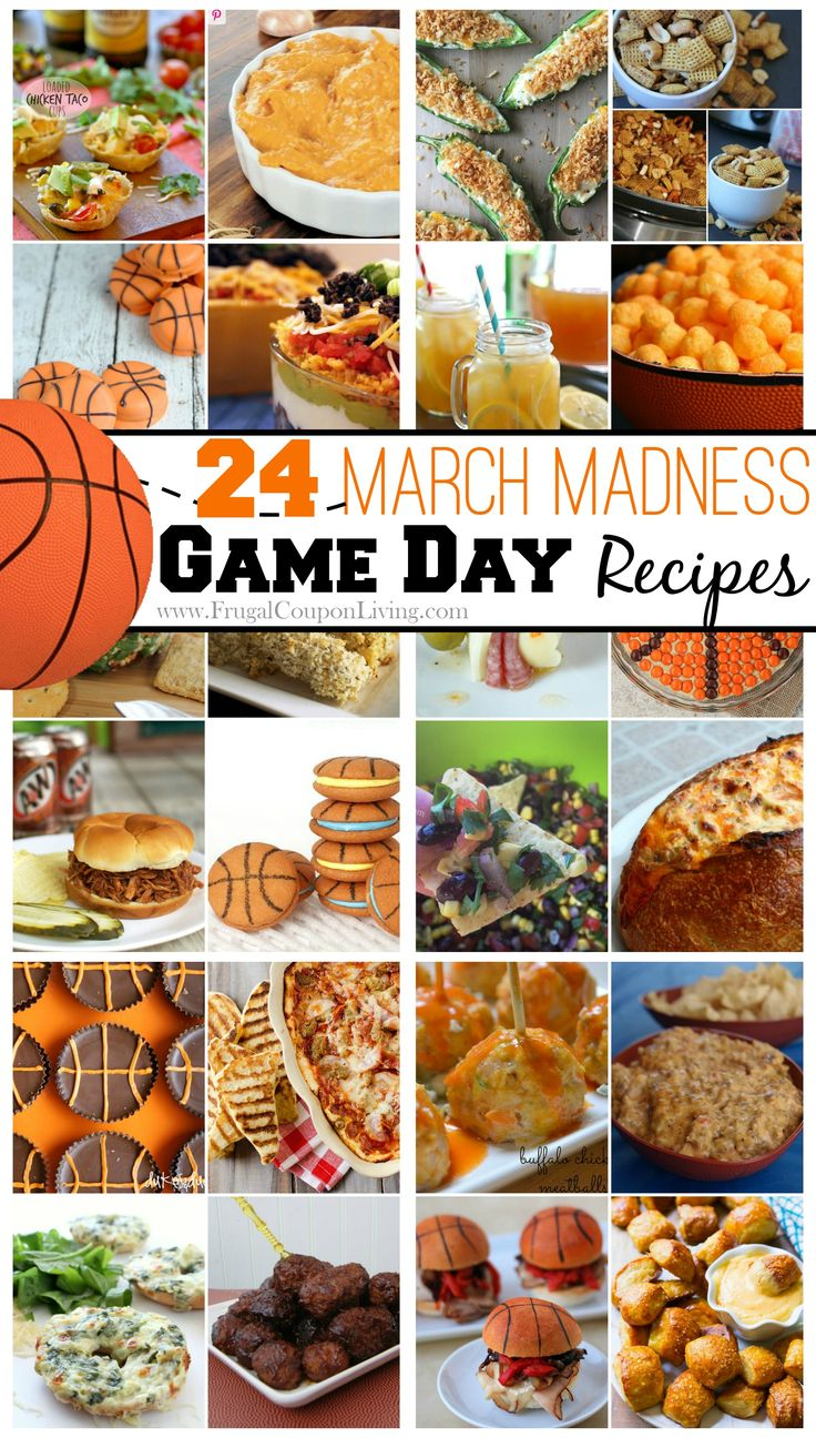 March Madness Food – Slam Dunk Bites for Your Entire Team. Round Up and March Madness Ideas found on Frugal Coupon Living. Great ideas for a Basketball Birthday.