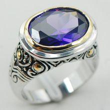 F930 púrpura de Cristal de Circón Mujer Anillo de Plata 925 Tamaño 6 7 8 9 10(China (Mainland))