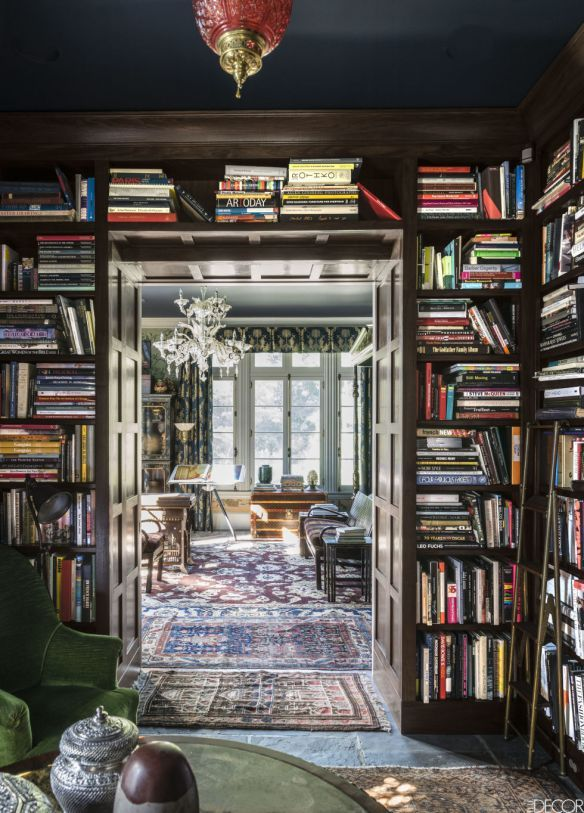 Library - Robert Duffy Ferncliff Estate via Elle Decor.