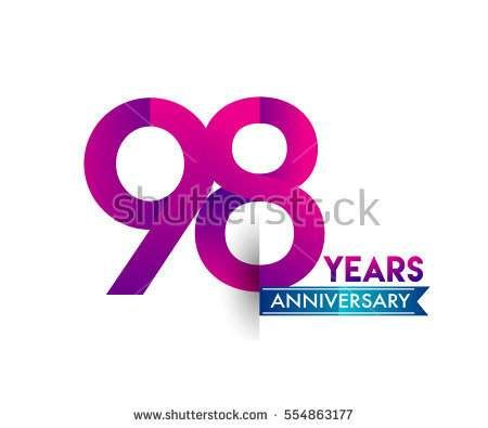 ninety eight years anniversary celebration logotype colorfull design with blue ribbon, 98th birthday logo on white background