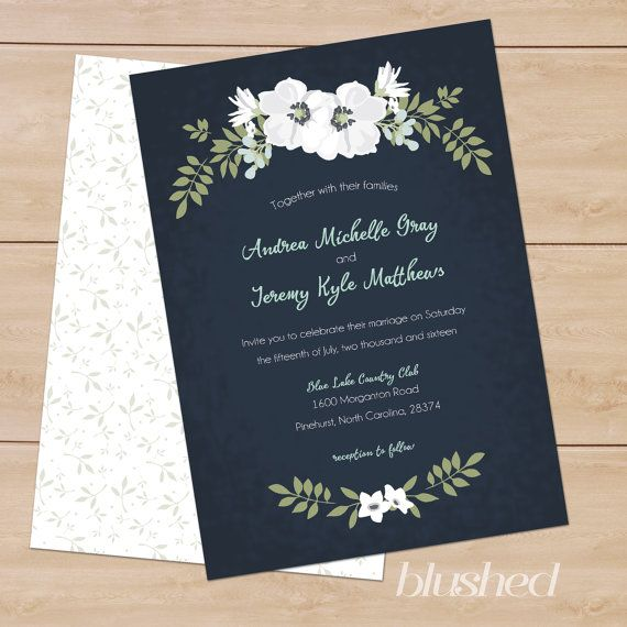 "Custom Floral Wreath Wedding Stationery Set – Customizable and DIY printable. ""Midnight Romance"""