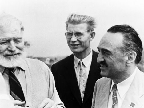 Ernest Hemingway with Anastas Mikoyan, while the latter is handing the writer's two-volume edition printed in USSR- imYerevan