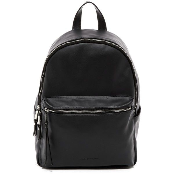 French Connection Perry Backpack ($50) ❤ liked on Polyvore featuring bags, backpacks, black, french connection, pocket bag, vegan leather backpack, fake leather backpack and pocket backpack