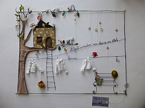 Drahtgeschichten, wire & fabric collage