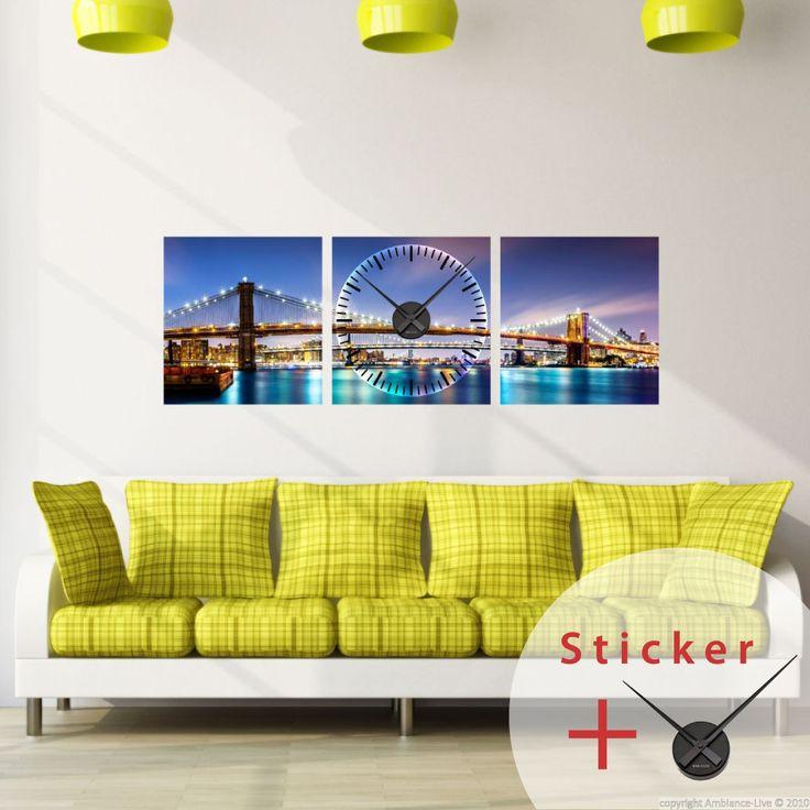 Sticker horloge Vue sur Brooklyn Bridge - sticker STICKERS ORIGINAUX Stickers Horloges - Ambiance-sticker