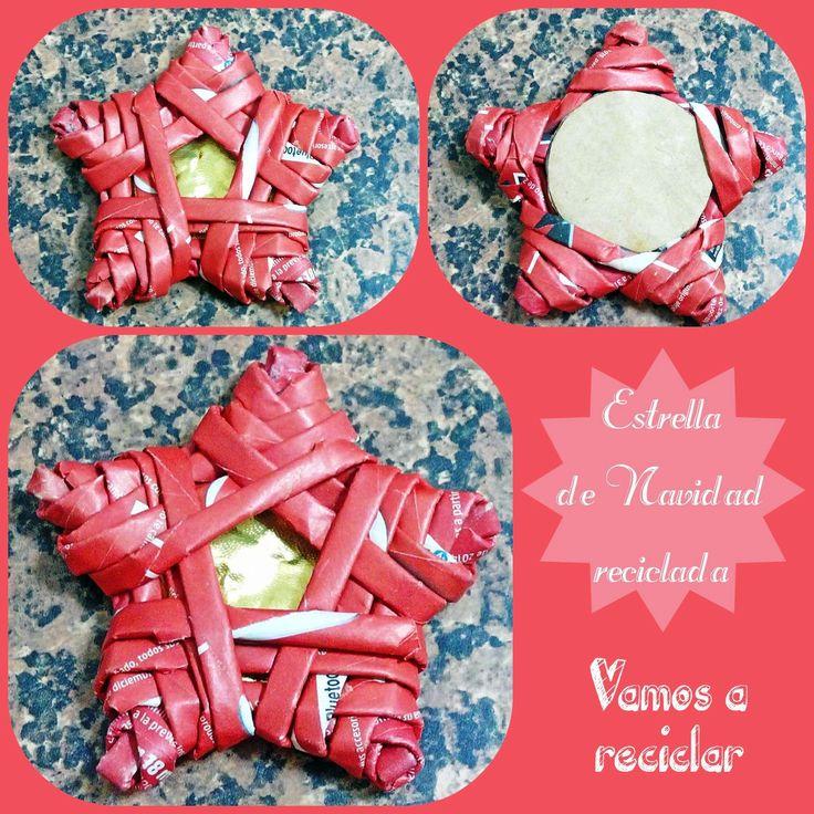Estrella para navidad reciclando papel manualidades - Estrellas de papel para navidad ...