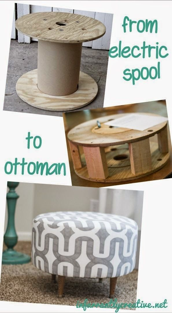 Turn an electrical spool into an upholstered ottoman