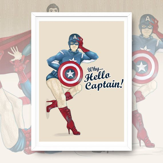 Wh... Hello Captain  Captain America  PinUp Artwork Print by Enixy