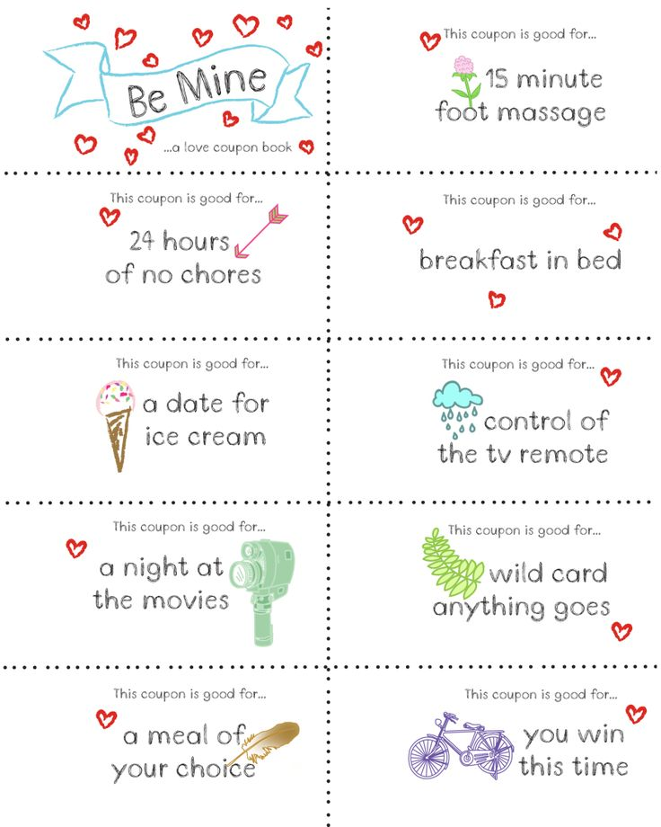 Ideas for a homemade coupon book for boyfriend