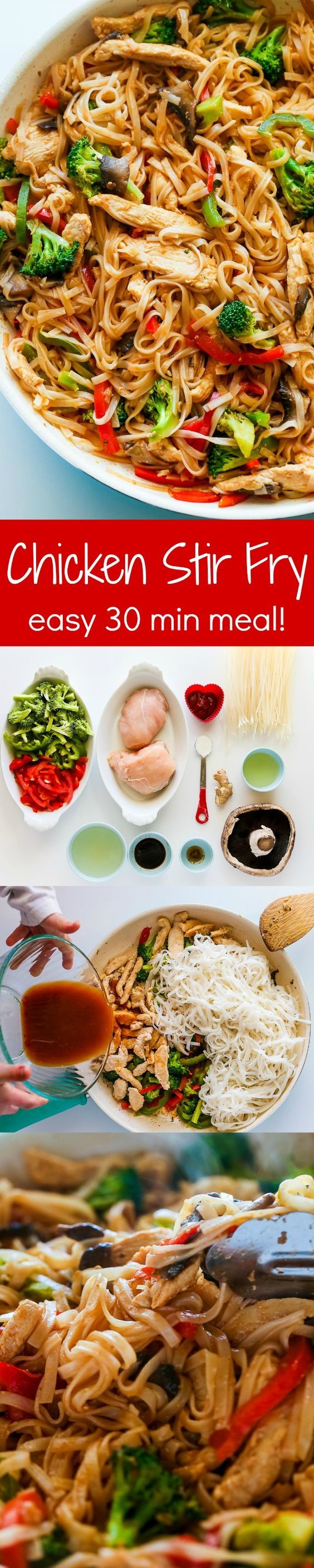 Chicken Stir Fry with Rice Noodles is an easy and delicious weeknight meal loaded with healthy ingredients. A one-pan, 30 minute chicken stir fry recipe. | natashaskitchen.com
