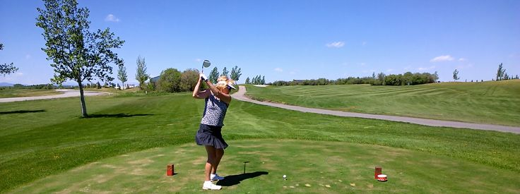 80-year old Maureen O'Shea teeing it up at River Spirit Golf Course in Calgary, Alberta