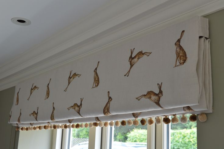 Peony & Sage Mr Hare Roman Blinds with Pompom trim