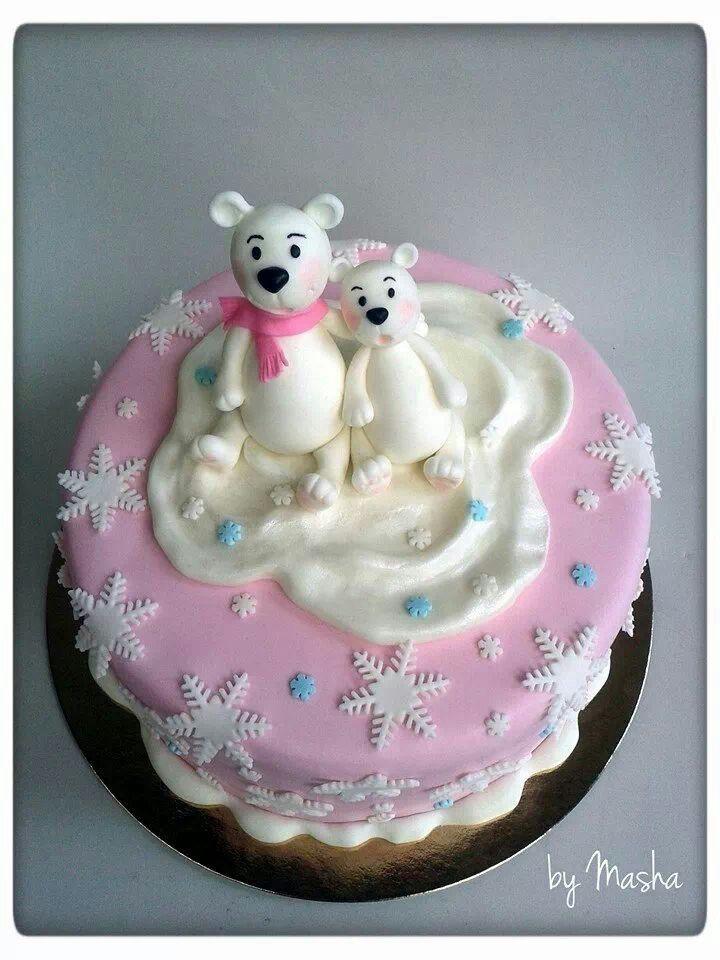 Winter pink polar bears cake Torta s polarnim medekima
