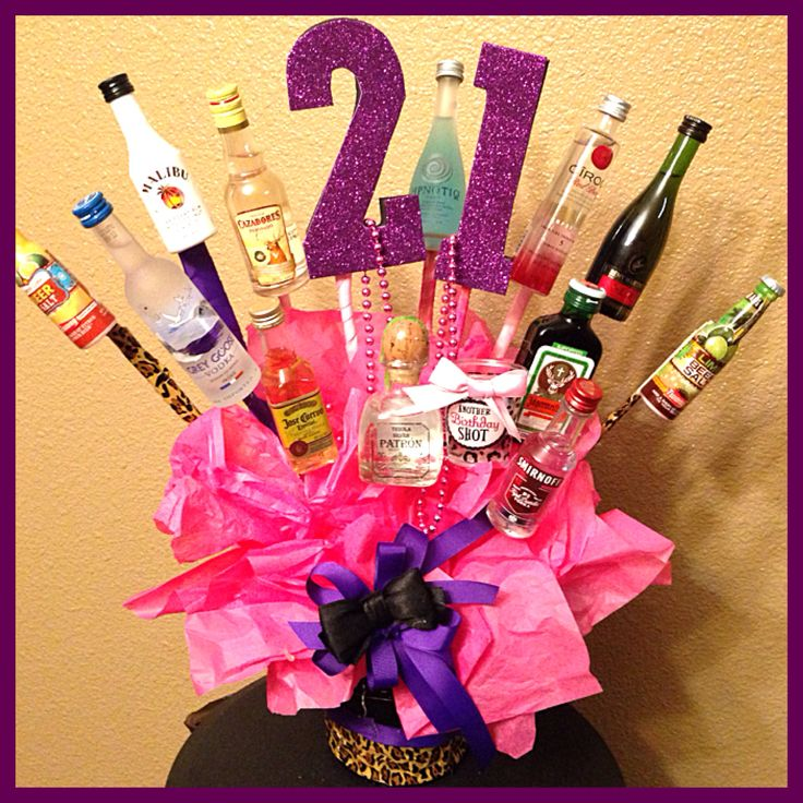21st Birthday shot Bouquet Happy Birthday Sister2⃣1⃣ 21st birthday ideas Pink with cheetah Purple and Shots