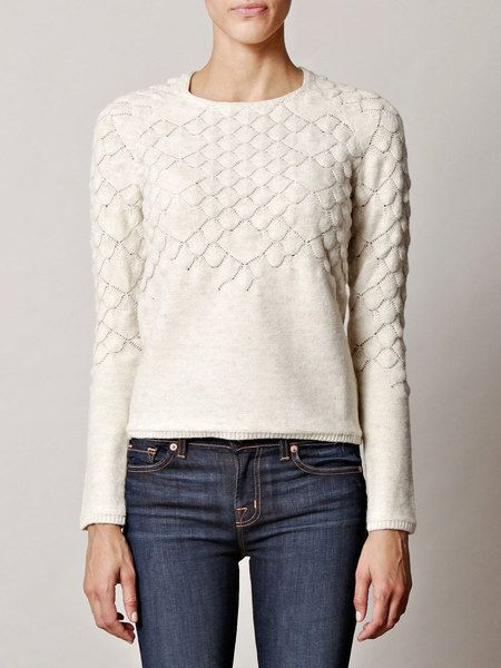 Maison Martin Margiela Fish Scale Knit Sweater in White. This is for the slim H Body Types. For the best look, pair this sweater with jeans that have outward slashing front pockets or a lot of whiskering in the front. Can also pair this with a full mini skirt.