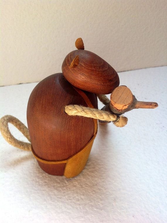 60s Authentic J Bentsen for Broste Denmark teak Beaver with log of wood Very Rare