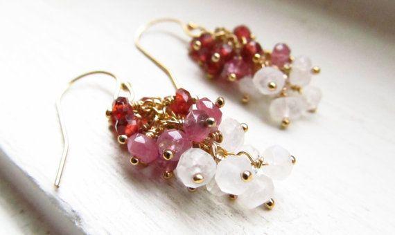 Tourmaline earrings garnet moonstone gradient multi by WynnDesign