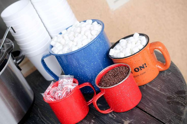 Hot cocoa bar at a camping birthday party! See more party planning ideas at CatchMyParty.com!